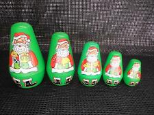 Old Vtg Santa Claus ROLY POLY Nesting Doll Holiday Christmas Motif Set 5