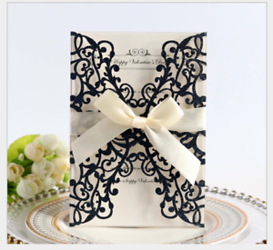 10pcs Laser Cut Party Invitations Cards Birthday Wedding Engagement Bridal Bride