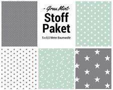 Stoffpaket mint grau 5x (0,5 x 1,50m) Patchworkpaket Baumwolle Nähpaket Stoffe
