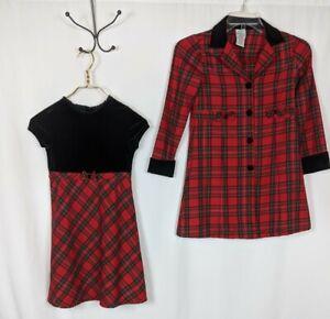Emily West Red Green Tartan Plaid Black Velvet Dress w/ Matching Jacket Size 10