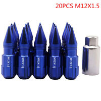 20pcs 12x1.5 W/Key Racing Nuts Lug Nuts With Spikes For Honda Civic Toyota Blue、