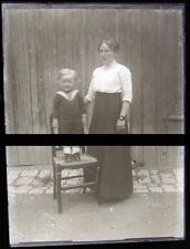 PLAQUE VERRE PHOTO NEGATIF circa.1914 MERE ET FILS mother & son  (B35)