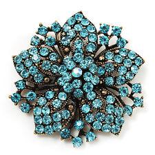 Victorian Corsage Flower Brooch (Antique Gold & Aqua Blue)