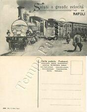 Cartolina saluti da Napoli, treno fermo in stazione della ferrovia