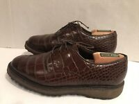 Allen Edmonds Honors Coll HASKELL Brown Alligator Crocodile Leather Golf Shoe