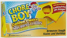 New 2pk CHORE BOY Golden Fleece Scouring Cloths Pad Cleaning Kitchen Lawn Tools