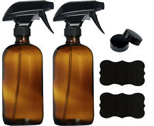 16oz Amber Glass Spray Bottles With Labels and caps (2 - pack)