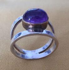 Vintage Cabochon Purple Amerhyst Art Deco Sterling Ring 925 Sz 8,5