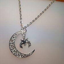 """Crescent Moon & Bat 24"""" Necklace - Organza bag"""