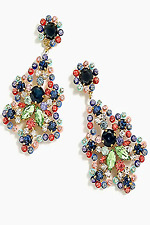 J CREW CRYSTAL AND ACETATE STATEMENT MULTI COLOR EARRINGS NEW WITH TAGS