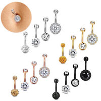 4PCS/Set Stainless Steel Crystal Belly Button Rings Navel Body Jewelry Piercing