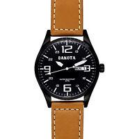 Dakota Men's Casual Angler Wrist Watch, Black Dial/Case, Tan Leather Band, 40mm