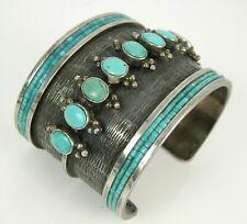 RARE DESIGNER vint Native American Handcrafted Turquoise Sterling Cuff Bracelet