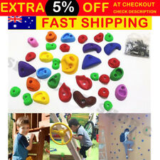 AU 32pcs Indoor Rock Climbing Stones Hand Hold Wall Climb Kit Kids+ Screws Gift