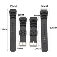 Black 20MM/22MM Sport Scuba Diver Rubber Watch Band Strap For Seko Caso Watch