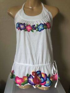 NWT Sweetees colorful floral embroidery peasant halter top S