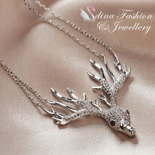 18K White Gold Plated Simulated Diamond Stylish Pink Eye Reindeer Head Necklace