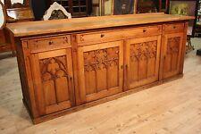 Credenza gotica in legno di rovere scolpita scaffale stile antico 900 mobile XX