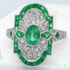 1920's Deco Platinum 1.23ctw Emerald Oval & French & Old Cut G/H-SI Diamond Ring