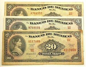 1970 Mexico 20 Pesos Lot of 3 BIK BIH BIE Series #10463