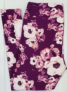 TC LuLaRoe Tall & Curvy Leggings Gorgeous Pink Flowers on Purple NWT F64