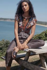 $158 new  anthropologie  Neda Beaded Blouse size S black