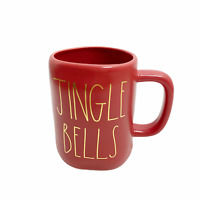 Rae Dunn JINGLE BELLS Coffee Mug Matte Red Gold Letters Christmas 2020 NEW!!