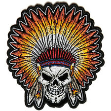 Embroidered Skull Indian Head Dress Feathers Sew or Iron on Patch Biker Patch
