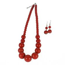 RED GRADUATED BEAD NECKLACE AND EARRINGS  SET