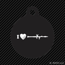 I Love my RPG Keychain Round with Tab dog engraved many colors rocket grenade