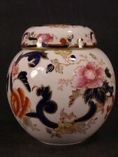 ~19c Mandalay Ginger Jar Tea Caddy Box Masons Ironstone Transferware China Blue~