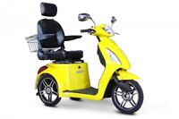 New E-Wheels 3 Wheel High Power Mobility Scooter with Storage Basket - Yellow