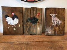 3 Vintage Heavy Wooden Plaques of Farmyard Animals, shabby chic, farmhouse style