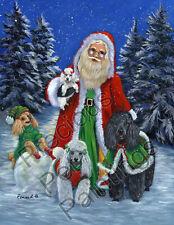 "Precious Pets Garden Flag - Santa Poodles 12"" x 18"" ~ Charity!"