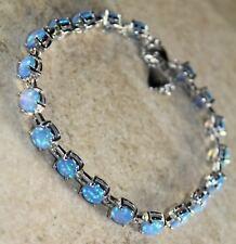 Silver Elegant Blue Fire Opal Round Bracelet Woman Gift