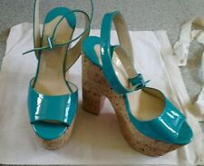 Rare Christian Louboutin Super Dombasle green patent wedges 38 UK 5 used once