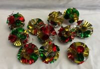 Lot of 10 VINTAGE Foil Atomic Pom Pom Christmas Ornaments