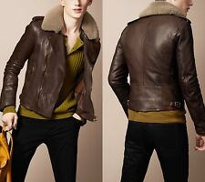 Burberry Brit Brown Leather Biker Aviator Jacket w/ Shearling Fur Collar Size XL