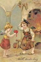 Antique Post Card German American Novelty Art Series 1907 Children Gilded Love