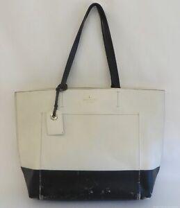 Kate Spade Black & White Cross Grain Leather Tote Purse