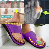 Women Ladies  Flops Leather Slippers Comfy Platform Sandals Bunion Corrector