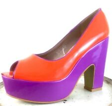 Rockabilly Platform Court Shoes por Catisa Fiesta Púrpura Naranja Retro Reino Unido 6