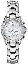GIFT IDEA TAG HEUER WOMENS LINK CJF1314.BA0580 CHRONOGRAPH PEARL DIAMOND WATCH