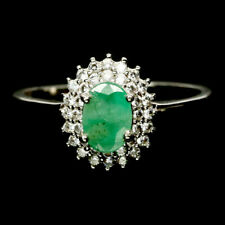NATURAL 5 X 7 mm. GREEN EMERALD & WHITE CZ 925 STERLING SILVER RING SZ 8.25