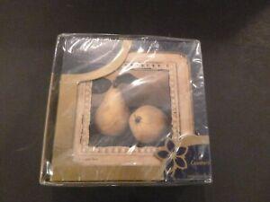Vintage Pimpernel Drink Coasters Cork Back Framed Pears Set Of 6 New in Box