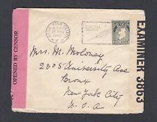 Ireland 1940 Wwii Twice Censored Cover Dublin To Bronx New York