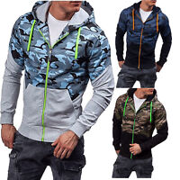 Mens Camo Military Army Hoodie Fleece Zip Up Hoody Jacket Sweatshirt Hooded Tops