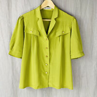 *VINTAGE* WEINBERG Lime Green Short Sleeve SIZE 10 UK Button Up Blouse V1