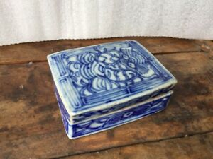 A Chinese Antique Blue and White Porcelain Box With Poem Inside