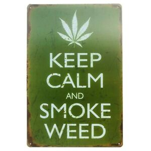Weed Man Cave Metal Tin Signs Garage Wall Plaque Cannabis Marijuana Pothead Room